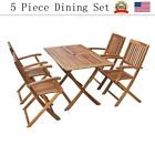 5 Piece Dining Set Table and 4 Chairs Kitchen Room Breakfast Furniture Outdoor