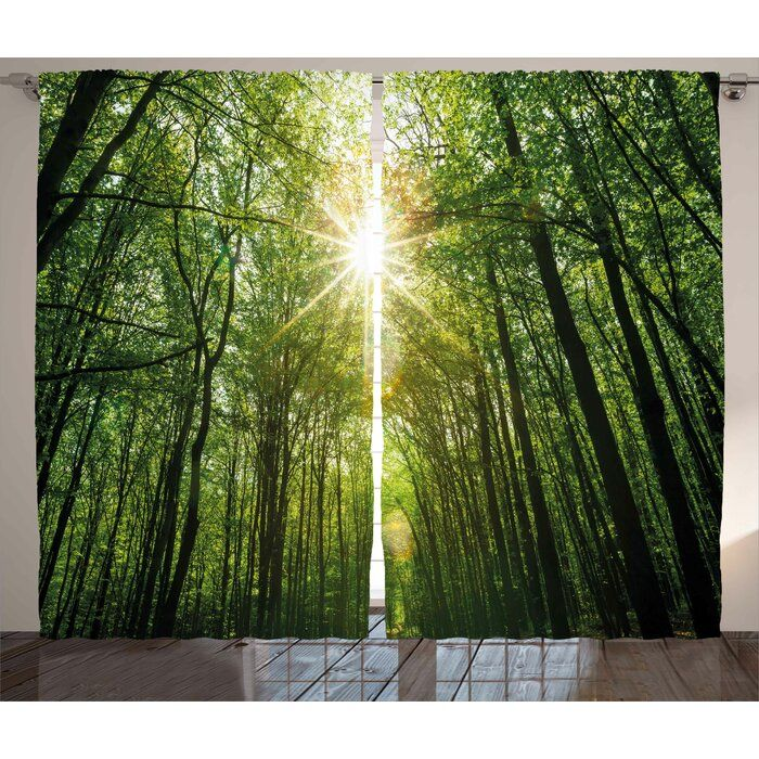Alise Forest Graphic Print And Text Semi Sheer Rod Pocket Curtain Panels In 2021 Summer Trees Rod Pocket Curtain Panels Rod Pocket Curtains