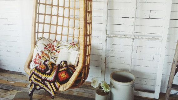 Hanging Bamboo/Wicker Lounge Chair by MillerIslandCompany on Etsy
