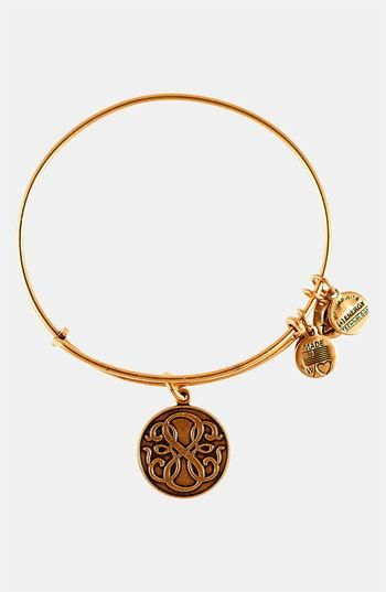 Recycled materials are formed into an expandable bangle with several charms, including one etched with an infinity symbol. Color(s): russian gold, russian silver. Brand: Alex and Ani. Style... More Details