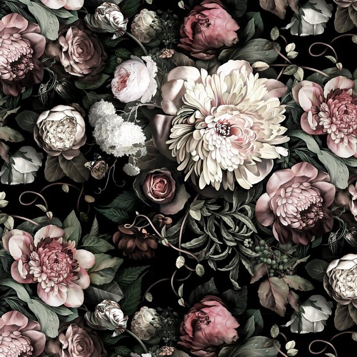 Dark Floral II Black Saturated Wallpaper