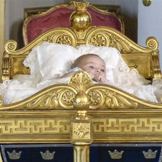 After the christening; little Leonore in the royal crib from 1826.