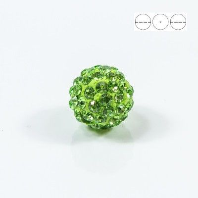 Discoball Bead 14mm Peridot  Dimensions: 14mm Stones which were used in a ball are from Preciosa Company  1 package = 1 piece