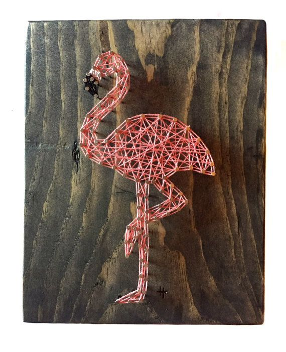 String Art Flamingo Flamingo String Art String by ThreadTherapy1