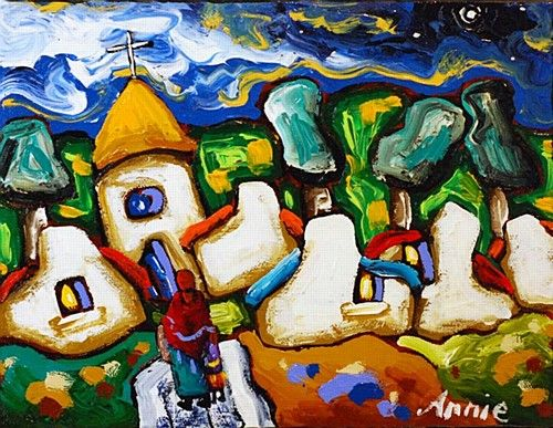 """Annie Robinson, """"Going to Church, Galway"""" #art #painting #church #cottages #Galway #bright #DukeStreetGallery"""
