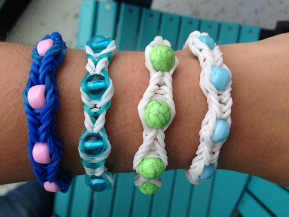 Rainbow Loom Bracelets with Beads Twistz by CraftsforDiabetes, $5.00