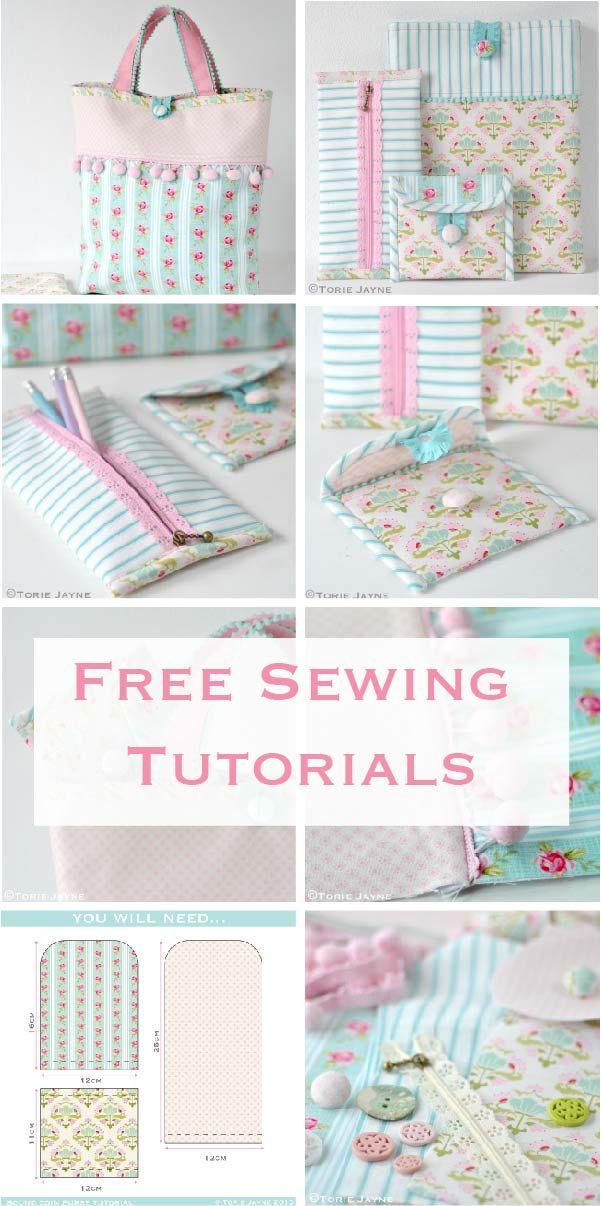 Free step by step sewing tutorials, purse, pencil case, bag and ipad cover #sewing