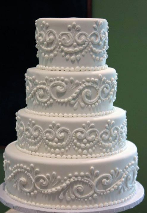 Tiered White Cake with Lace Piping...with some pink on here it would be a good choose for my Wedding cake #laceweddingcakes