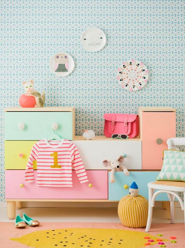 The IKEA PS chest of drawers, in unfinished pine, can be painted to match the decor of your child's room. Shown here in pastels at http://chic-deco.blogspot.com/.