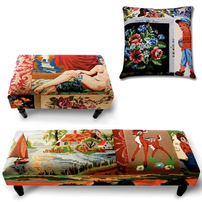 Frederique Morrel, pillows/apolstery from vintage needlepoints.