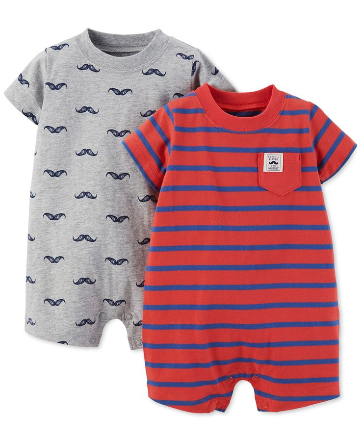 Carter's Baby Boys' 2Pack Mustache Rompers Carters baby