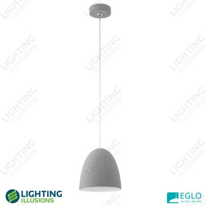 Cylinder (E27) Eglo Pratella Grey Ceramic Pendant Light - Shop - Lighting Illusions Online