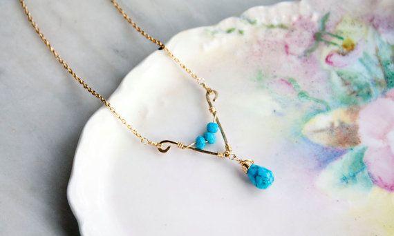 Alambre envuelto colgante collar de turquesa, llena de oro, regalo de la Dama de honor, Cerceta collar, hecho a mano