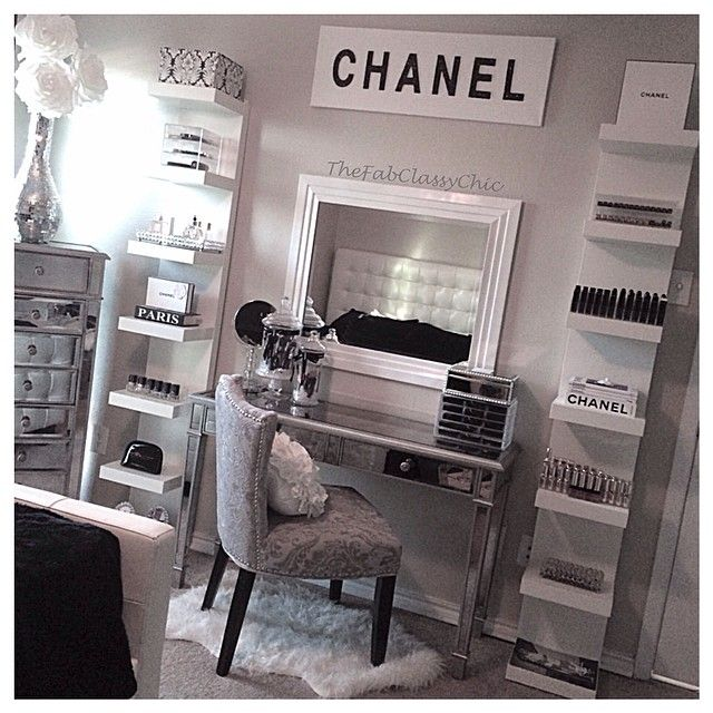 all white makeup vanity. Love the white shelving  Chanel Vanity Decor Traditional Black and White 252 best The images on Pinterest Bath Bedroom