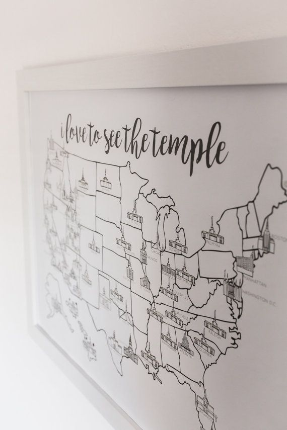 d e t a i l s :  This map is for you to mark what temples you have visited in whatever way you see fit. Watercolored, colored penciled, or leave it blank. However you want! Printed on a 80 lb. poster paper. 18x24 size. Frame is not included. The LDS temple map is updated and all the new temples are on there.  New temples: Star Valley Cedar City Meridian Tucson Fort Collins Hartford Philadelphia  s h i p p i n g :  Shipping is FREE! I will do my best to ship your map as soon as possible…