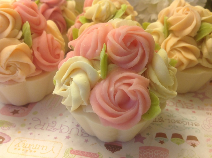 Cupcake soap Mothers day easter Cupcake soap - Decorative pink Rose soap Goatmilk  Birthday bridal party favors Cold process mom gift. $7.99, via Etsy.