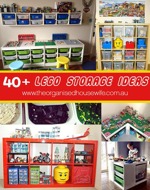40+ Awesome Lego Storage Ideas » The Organised Housewife -  Love a lot of these ideas and organising the blocks into colours!