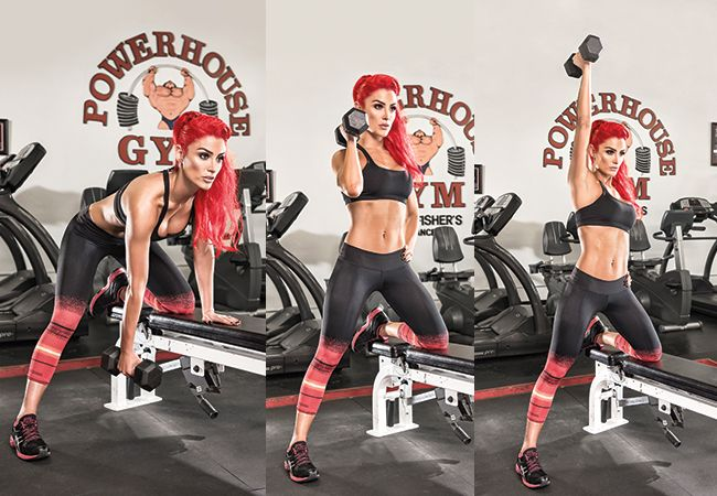 Try this single arm row clean and press as demonstrated by WWE Diva Eva Marie