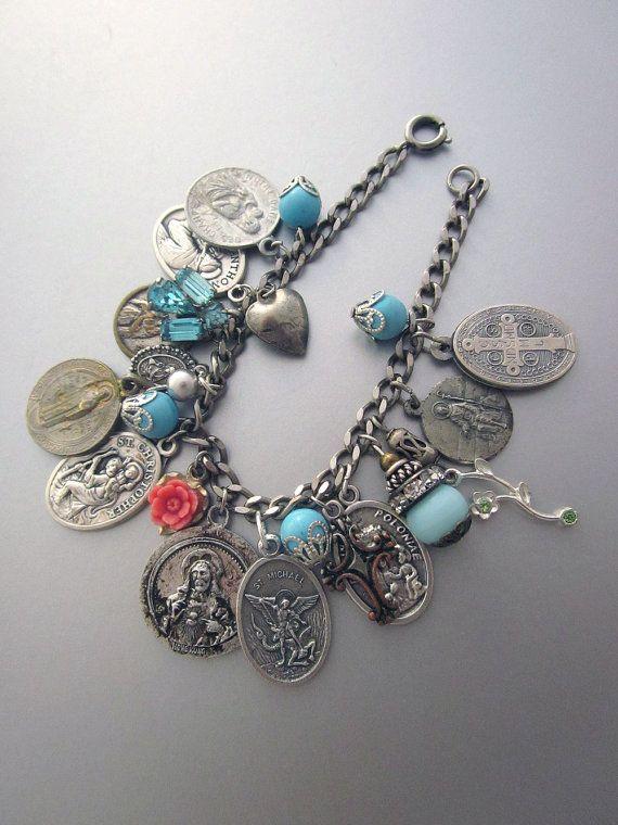 Religious Charm Bracelet Vintage Medals Repurposed