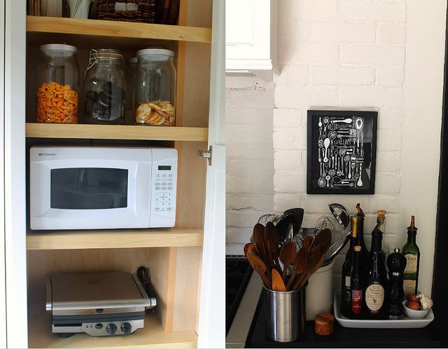Timeless Kitchen Before & After and hide the microwave in a cabinet or pantry.