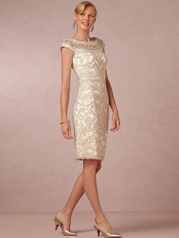 Vaina / columna primicia la rodilla sin mangas de tafetán de longitud Madre de los vestidos de la novia
