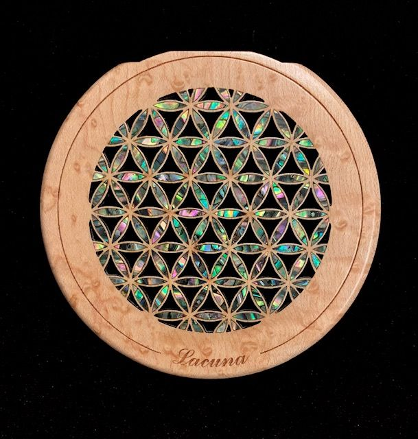 Custom Acoustic Guitar Sound Hole Insert With Shell Inlay Flower Of Life Design On Birdseye Maple Guitar Accessories Custom Acoustic Guitars Acoustic Guitar