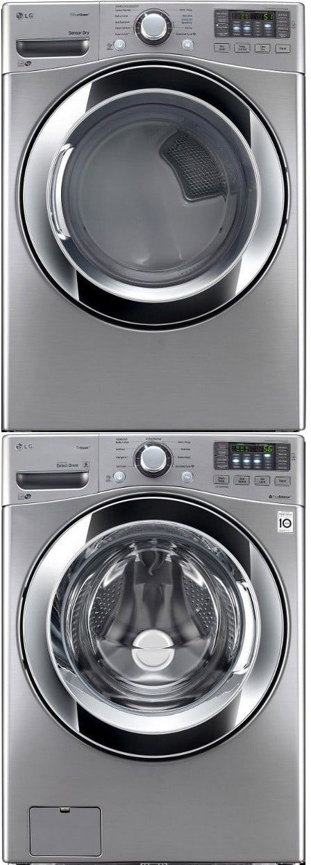 LG LGWADRGV104 Stacked Washer & Dryer Set with Front Load Washer and Gas Dryer in Graphite Steel
