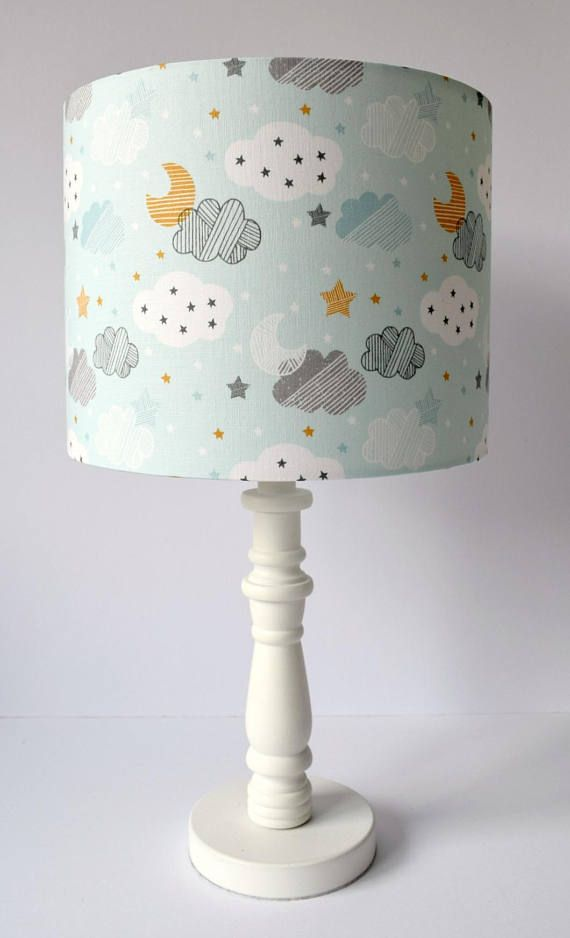 In A Subtle Blue With Moon Stars And Clouds This Lampshade Would Look Beautiful Your Childs Nursery Suit Any Theme