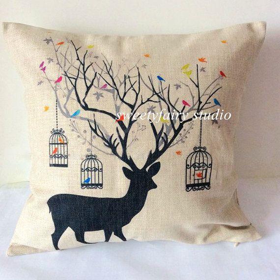 "Housewares deer Pillow animal Pillow cover cotton throw pillow cover / bird decorative pillowcase / cushion cover 18"""