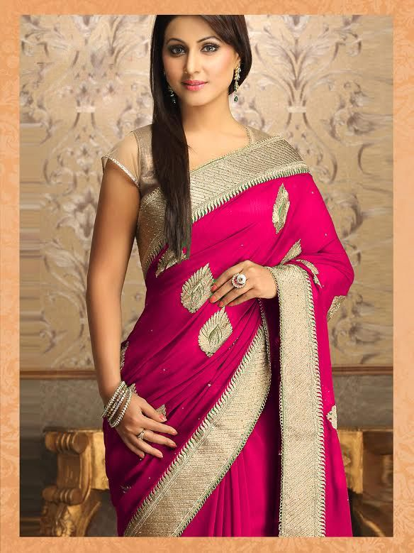 Akshara-Hina Khan Georgette Pink Saree|Saree|Ethnic Wear