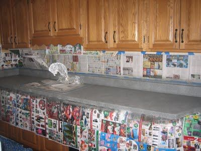 Counter remodel: Sand, Prime, apply stone-textured spray paint (sand between coats) and apply high gloss top coat