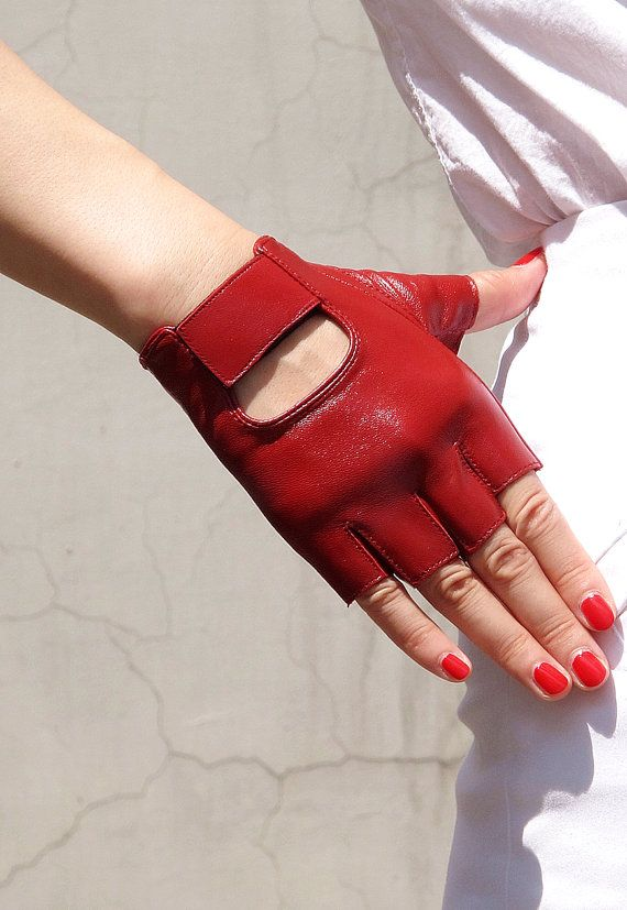 Real Leather Fingerless Short Gloves - Red Lambskin Unlined Bicycle Driving Gloves - Sheepskin  - Women - Handmade