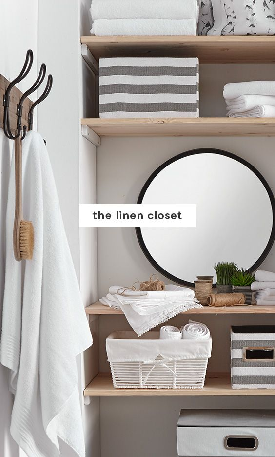 Linen closet #OnPoint Organize linens by type (bedding, bath towels, table cloths), and then by room (bedroom, bathroom, dining room). Place each stack into a fabric or wicker basket to keep them from toppling over. Store everyday items on middle shelves and your seasonal items on higher shelves. Add some personality – pops of greenery, mirrors to add depth, and decorative touches can be integrated strategically.