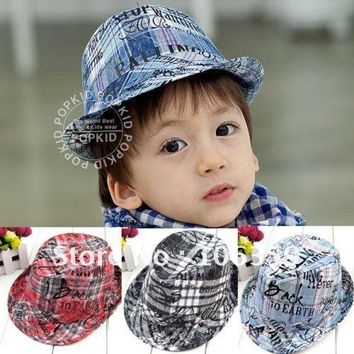 Проверено детей джинсовые фетровую шляпу с английской буквы ребенок джаз мальчиков / девочек cap младенца верхний дети съемщики дети ковбойские шляпы