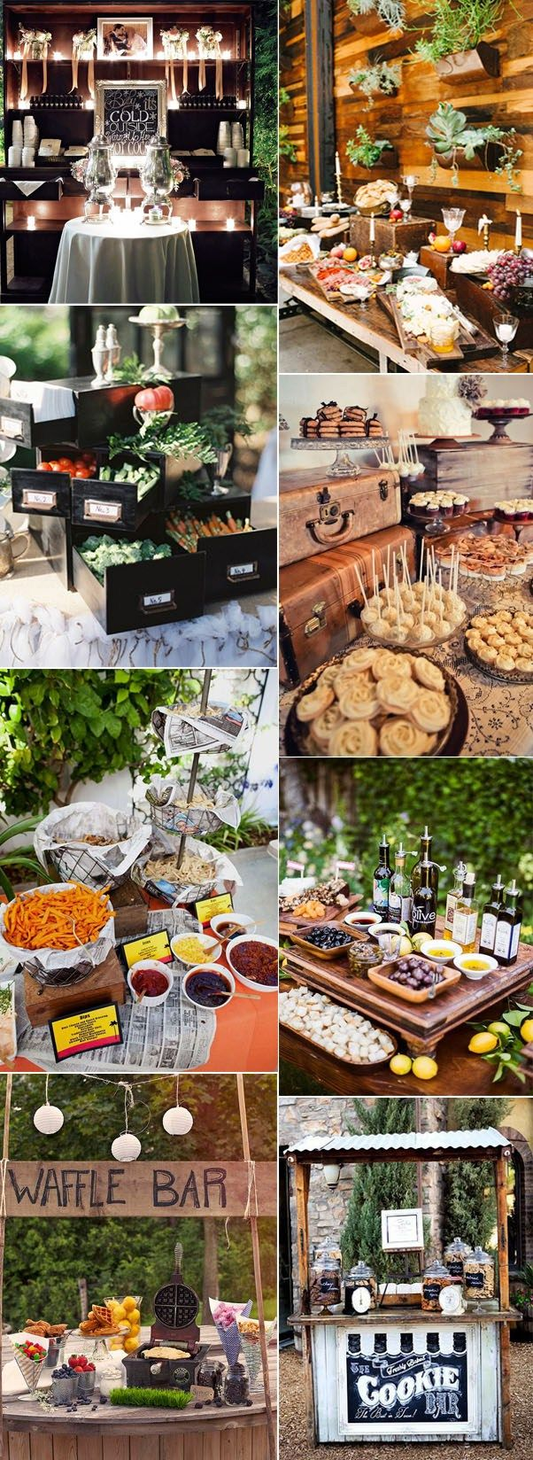 5 Admirable Wedding Food and Drink Bar Ideas: #3. Elegant And Vintage Wedding Food Bar Ideas
