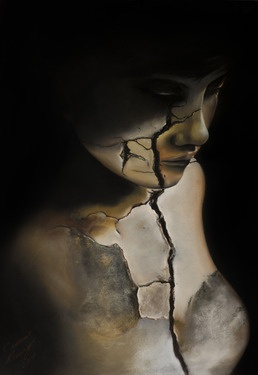 """Artist Carmine Monzo; Drawing, """"Breaking Point"""". Pastel, charcoal. #art"""