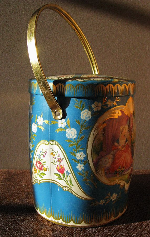 Victorian Theme Blue Vintage Biscuit Tin by RedfordRetro on Etsy, $20.00