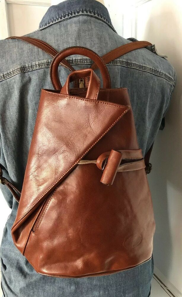 Vera Pelle Brown Leather Backpack Sling Shoulder Purse ITALY