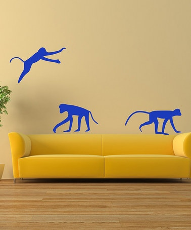 3Denim #Blue #Playful #Monkeys Wall Decal Set from DecorDesigns on #zulily