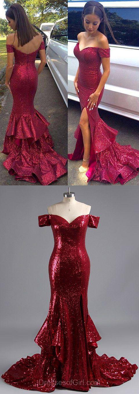 Trumpet/Mermaid Off-the-shoulder Sequined Split Front Fashion Prom Dresses