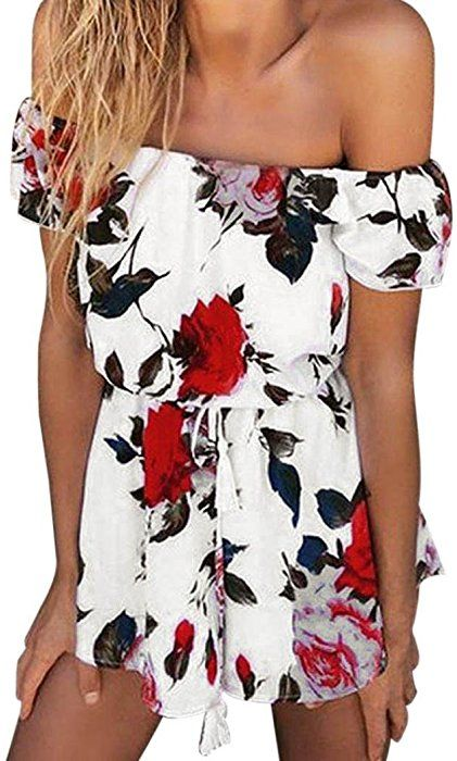 bcf0220f47 Amazon.com: EKIMI Women Jumpsuit Ladies Off-shoulder Floral Print Playsuit  Girls Summer Beach Clubwear Romper (M): Clothing