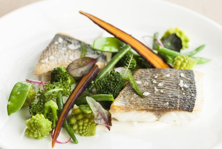 Grilled sea bream with stewed vegetables  and cauliflower purée