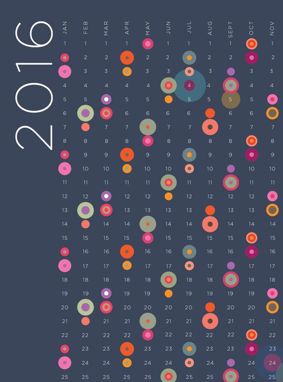 2016 Calendar poster print Circles and dots by visualphilosophy