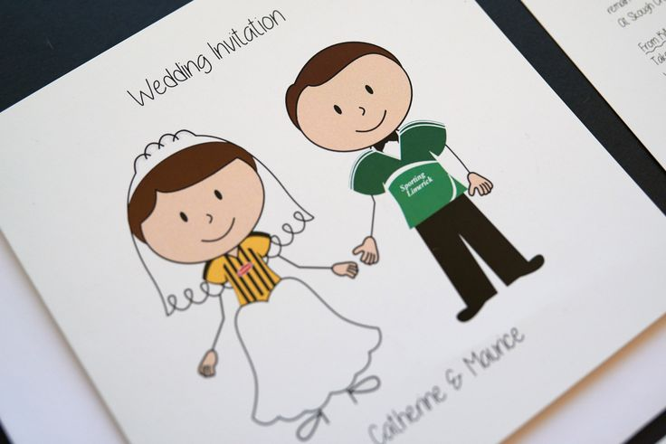 Personalised stick figure wedding invitations