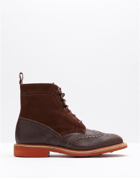 WINTERBURN Men's Shearling Lined Brogue Boots