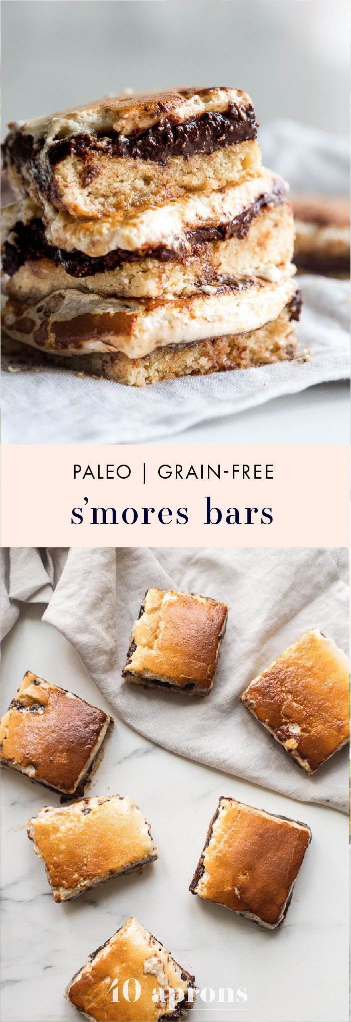 These paleo smores bars are the perfect paleo dessert this summer. A graham cracker crust, topped with chocolate and a burnt marshmallow layer, they're inspired by the classic summer treat but are grain-free, dairy-free, and refined-sugar-free. These paleo smores bars are great for entertaining! | #paleo #glutenfree #dairyfree