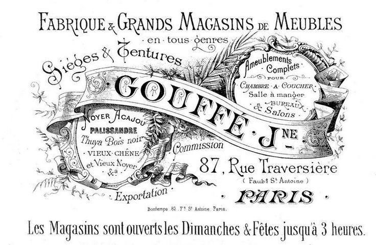 Französische Sprüche und Wörter mit Vintage Schriftarten