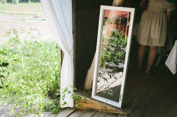 Write down your menu to be displayed on an old window frame. Julia Lillqvist | Sara and Håkan | http://julialillqvist.com