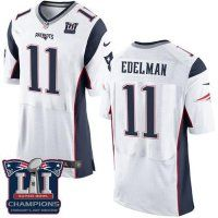 Men's New England Patriots #11 Julian Edelman White Super Bowl LI Champions Nen Elite Jersey
