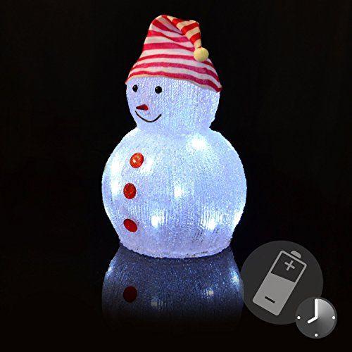 Schneemann Acryl 20 LED weiß Acrylfigur Weihnachtsbeleuchtung 32 cm Batterie außen Deko